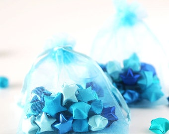 Blue lucky stars babyshower favors - Organza gift bags - 30 luckystars per bag - Origami paper stars