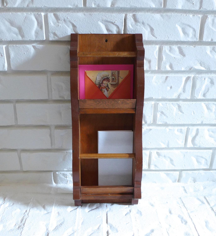vintage mail holder bill organizer home by raindropvintageshop. Black Bedroom Furniture Sets. Home Design Ideas