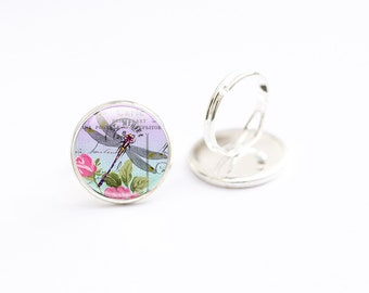Dragonfly Jewelry - Dragonfly Picture Ring - Dragonfly Ring (DJD3)