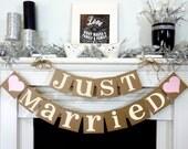 Just Married Banner / Wedding Garland / Getaway Car Sign / Rustic / Wedding Couple Photo Prop/ Wedding Reception Decoration / Backdrop