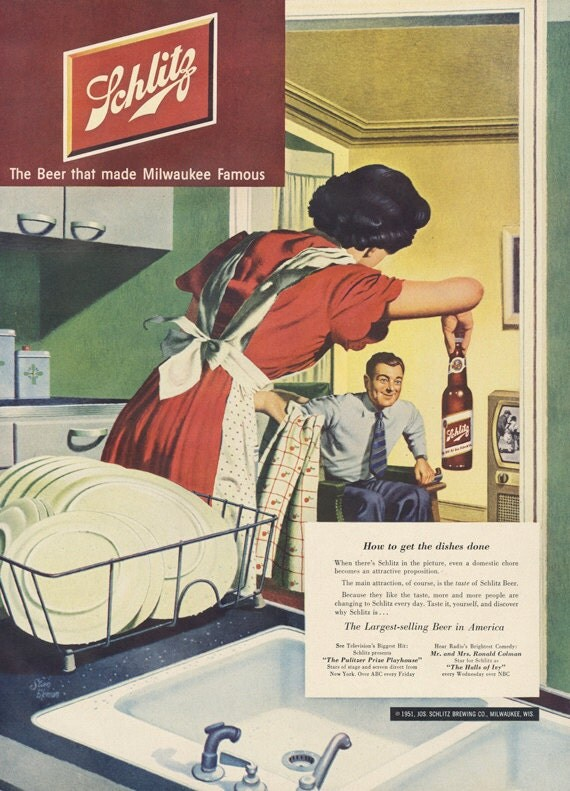 1951 schlitz milwaukee bi u00e8re ad 50 ans femme au foyer  u0026 mari