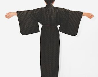 Japanese Vintage Black Kimono Robe, Coverup, Festival Wear, Boho Gown, Lounge Wear, Costume, Wall Decor, Home Decor, Gifts Under 50