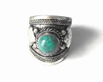 Vintage Nepal Ring - Tibetan Silver Metal Dreadlock Bead