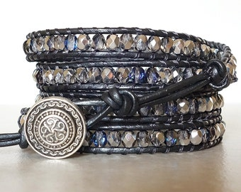 Boho silver black bling wrapped bracelet/ Rocker girl Czech glass bead 5 wrap/  Gypsy bohemian leather ladder yoga bracelet