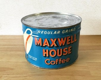 Maxwell House Unopened Coffee Key Wind Regular Grind Tin / 1940's / Primitive Rustic Kitchen Decor / General Country Store / Advertising