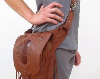 Brown Leather holster, leather utility belt, festival belt, burning man bag, fanny pack, steam punk bag, jungle tribe, pixie belt
