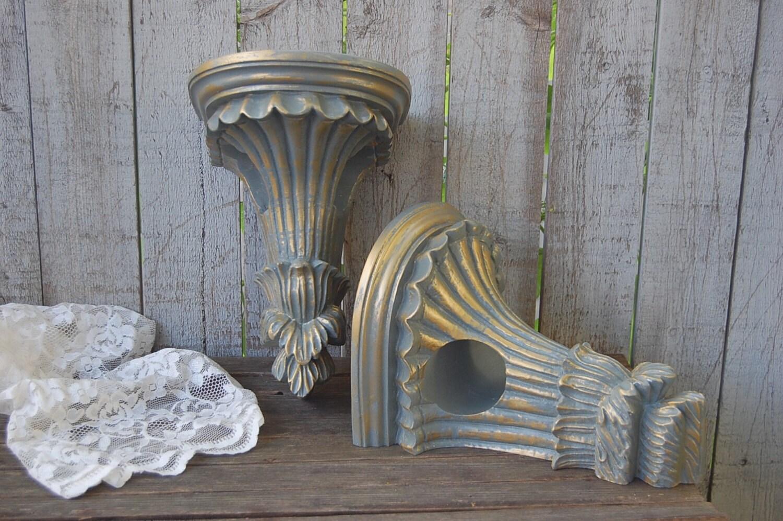 Drapery sconce shabby chic grey gold drapery rod holder - Shabby chic curtain poles ...