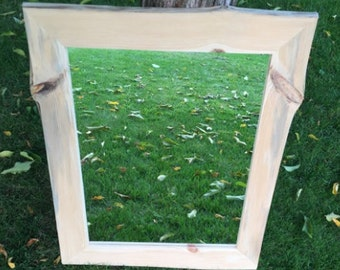Pine Mirror -- Rustic Bathroom Mirror -- Rustic Hallway Mirror -- Natural Edge Frame -- Red Pine Mirror -- Knotty Pine Mirror