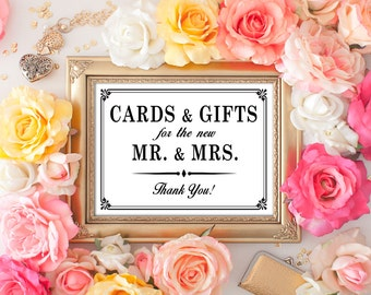 PRINTABLE  - Cards and Gifts for the new Mr. & Mrs. - Wedding Card and Gift Table Sign - DIY 8 x 10 or 5 x7 Instant Download