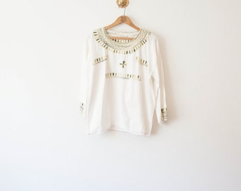 moss green embroidered blouse