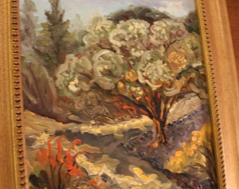 Original oil painting of mesquite tree in the desert in the style of Van Gogh