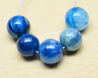5 pieces of 7mm,  Authentic>> Kyanite Gemstone Beads, Perfect for Earrings or Pendant