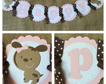 Girl Puppy Birthday Banner, Girl Puppy Party banner, Pink Puppy Birthday Banner, Pink Puppy Party Banner, Girl Puppy Party, Pink Puppy Birth
