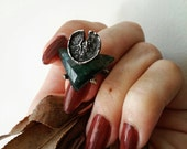 Swamp Witch's Charms : Custom Lily Ring, Hand Carved Oxidized Silver Water Lily Pad and Moss Agate Gemstone Jewelry - Moon and Serpent