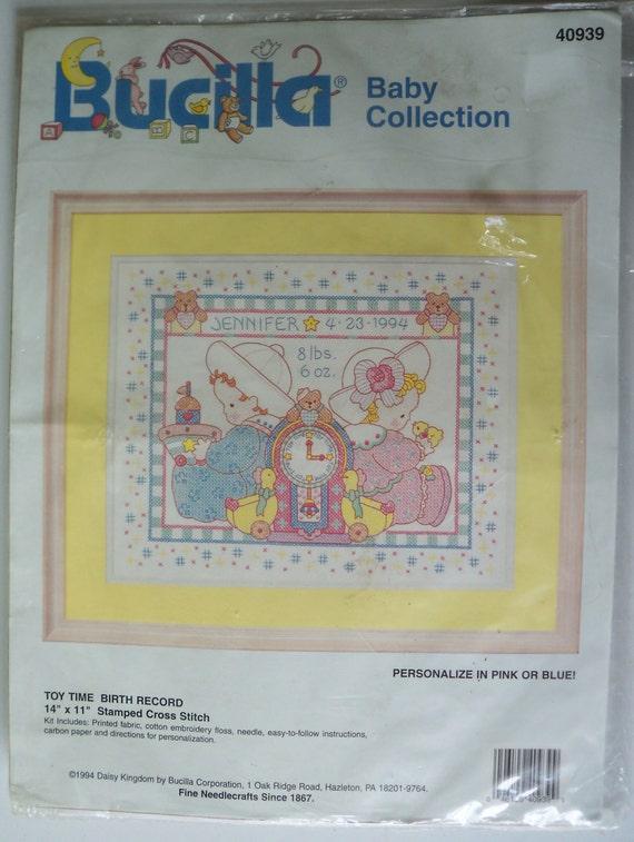 Stamped cross stitch kit baby birth sampler toy time