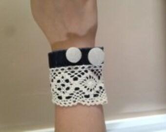 Denim & Lace Cuff Bracelet