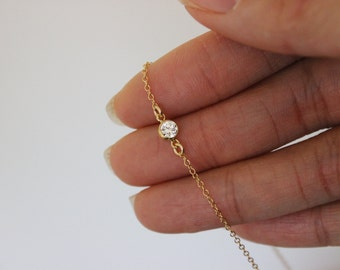 gold cz diamond Ankle bracelet, dainty gold anklet, tiny anklet, simple Gold Anklet, Gold Filled Chain Anklet, Summer, Beach, Bar Anklet