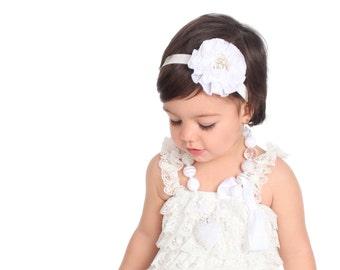 White Baby Headband,Newborn Headband, Flower Baby Headband,Baby headbands, Baby girl headbands, Baby hair bows Bows,Hair Bows