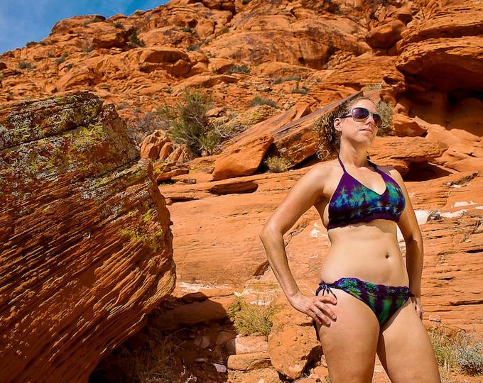 Featured listing image: Tie Dye Crocheted Bathing Suit, Trippy Bikini, Knitty Kitty, Summer Swimwear, Festival Gear, Beach Trippy Wear, Jamaican Clothing