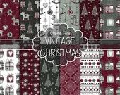 "Christmas digital paper: ""COTTAGE CHRISTMAS"" christmas backgrounds with deers, snowflakes, christmas trees, lights, gifts, balls, damask"