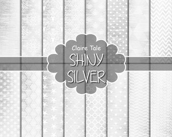 Silver digital paper, Shiny silver background, Silver backdrop, Silver scrapbook paper, Silver paper digital, Silver printable party paper