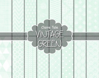 "Green digital paper: ""VINTAGE GREEN PAPER"" with triangles, damask, lace, chevrons, polka dots, crosshatch, quatrefoil on vintage background"