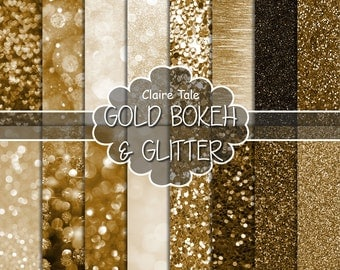 """Gold digital paper: """"GOLD BOKEH & GLITTER"""" with gold glitter background and gold bokeh background for photographers and scrapbooking"""