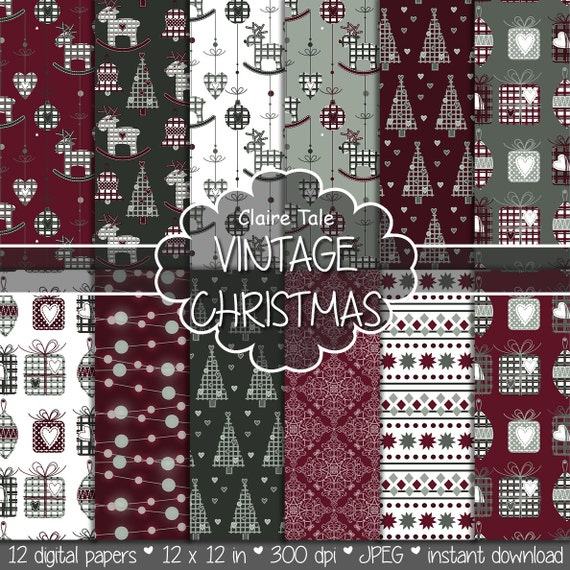 "Christmas digital paper: ""COTTAGE CHRISTMAS"" christmas backgrounds with deers, snowflakes, christmas trees, lights, gifts, balls, damask"