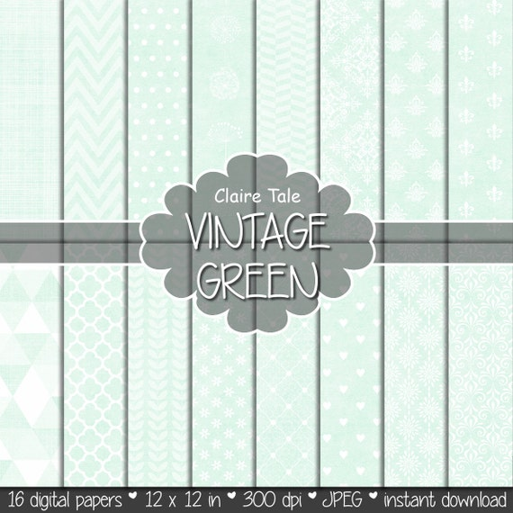 """Green digital paper: """"VINTAGE GREEN PAPER"""" with triangles, damask, lace, chevrons, polka dots, crosshatch, quatrefoil on vintage background"""