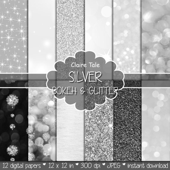 "Silver digital paper: ""SILVER BOKEH & GLITTER"" with silver glitter background and silver bokeh background for photographers and scrapbooking"