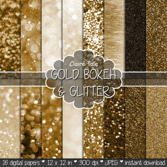 "Gold digital paper: ""GOLD BOKEH & GLITTER"" with gold glitter background and gold bokeh background for photographers and scrapbooking"