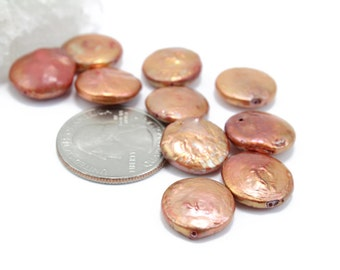 Freshwater Copper Color Coin Pearls 14mm 10pcs