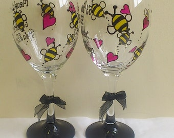 Personalised hand painted bumble bee design wine glass by Luci Lu Designs