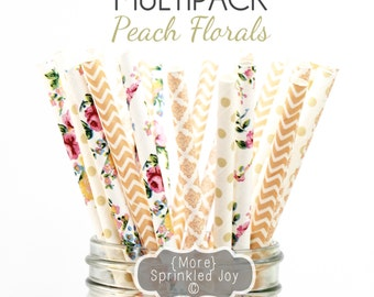 PEACH FLORAL Paper Straws, Party Decor, Ivory, Cake Pops, Flower, Peach, Tea Party, Shower, Birthday, Baby Shower, Bridal, Wedding, Baby