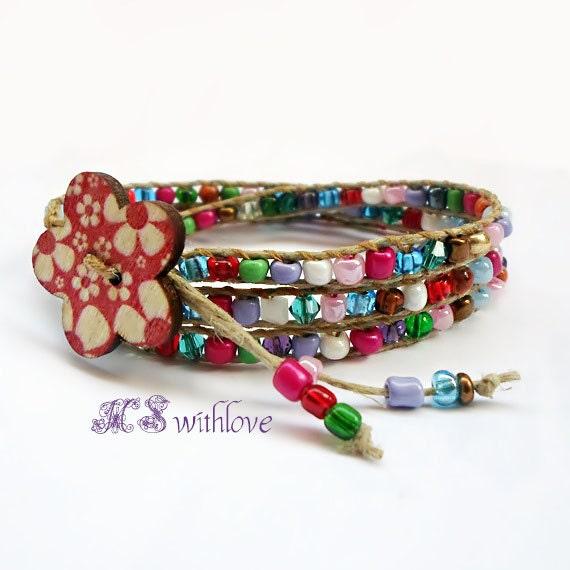 wrap bracelet colorful beaded handmade wrap bracelet