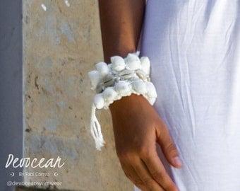 Cowrie Shells and crochet handmade cuff - handmade boho bracelet
