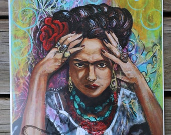 Frida Kahlo Art Print, Frida Wall Decor, Frida Illustration, Chicana Art, Mexican Folk Art, Frida Kahlo Wall Art, Art Icon Frida Kahlo Gifts
