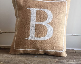 Burlap Pillow - Monogramed pillow -Bridesmaids & Wedding gifts, Baby shower, Mother's Day - Made to Order
