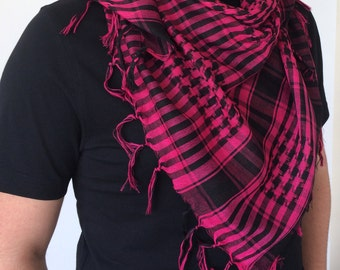 Plaid Pink Scarf, Checkered Men's Scarf, Houndstooth Scarf, Square Summer Scarf,  Tassel Cotton Scarf, Back to School, Christmas Gift