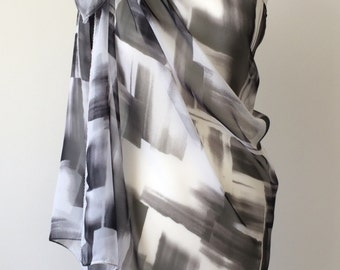 Swimwear Wrap Pareo, Oversize Batik Scarf, Beach Cover Up, Chiffon Summer Scarf, Black White Sarong, Geometric Sarong, Designscope