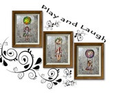 Girl on Swing, Girls Room Decor, Baby Nursery Decor, Nursery Art, Baby Girl, Gifts for Girl, Set of Three Print, Christmas gift, Swing