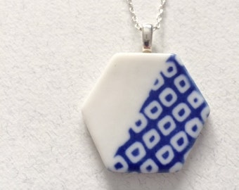 Hexagon Cobalt Blue Porcelain Necklace with Sterling Silver Chain!