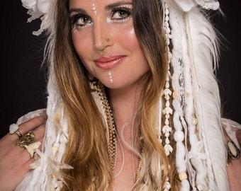 White Lace Flower & Fur Headdress