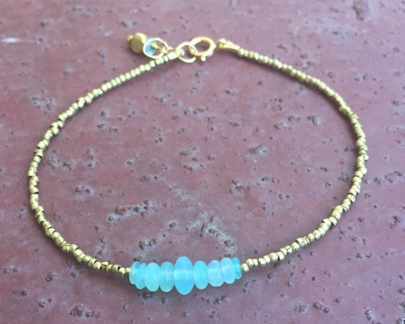 Opal Bracelet , Small African Brass Heishi, Genuine Opal, Petite Delicate Opal October Birthstone , Blue Opal ,Throat Chakra