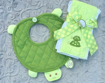 ON SALE!!! Cuddly Soft Tiggles Bib and Burp Cloth Set