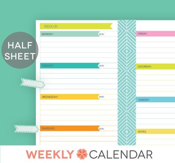 Calendar Half Sheet : Items similar to undated weekly planner printable
