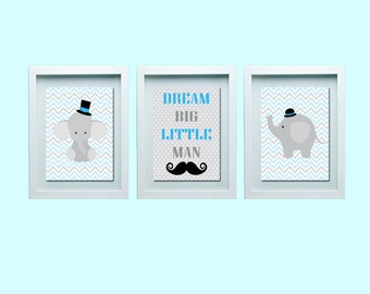 Dream Big Little Man, Cute Elephant Nursery Wall Art, Mustache, Elephant Wall Art, Elephant Nursery Decor, Baby Boy Nursery Decor
