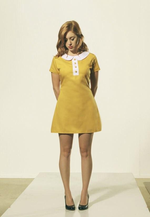 mustard dark yellow mod 1960's shift dress with white