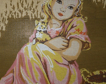 "Needlepoint canvas by Diamant ""Fillette aux Chats"""