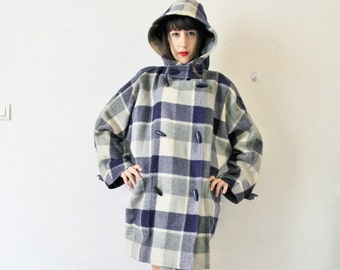 80s Courrèges plaid wool duffle coat, checkered off white navy blue French vintage designer couture oversized coat, 1980s plus size L XL